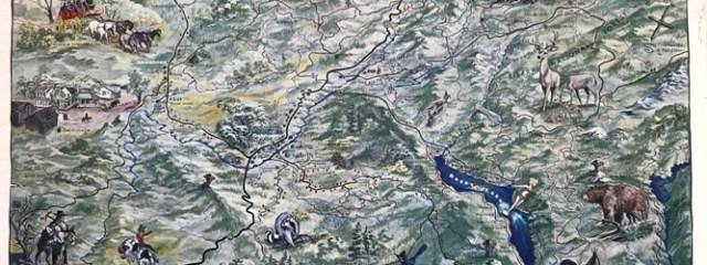 1967 illustrated Oakhurst Area map, Oakhurst, Coarsegold, North Fork, Nipinnawasee, Ahwahnee, Grub Gulch, Pines Village, Wishon