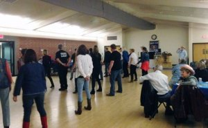 Line dancing instruction at the 2015 Sierra Madre Kiwanis Boot Scootin Chili Cook Off