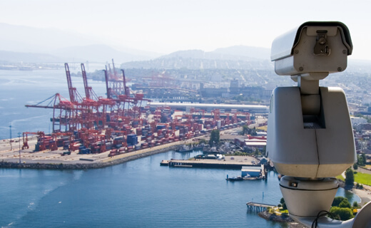 Long-range surveillance of a port