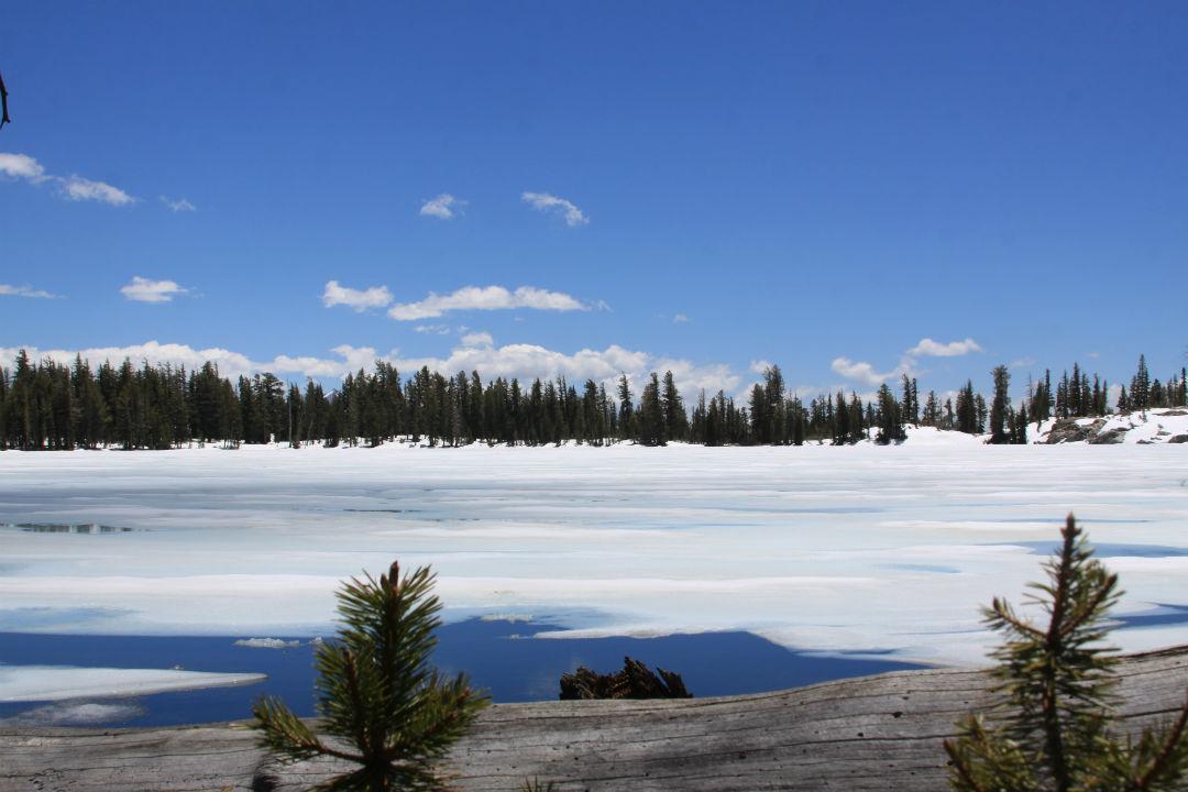 May Lake covered in snow - Yosemite National Park