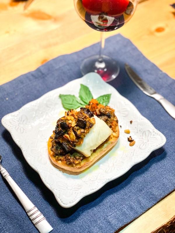sundried eggplant blackcod on ciabatta