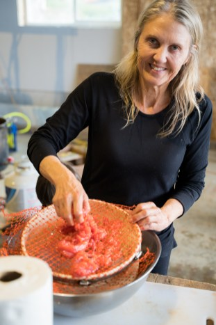Mom preparing salmon eggs for dinner