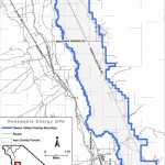 IInyo County may still be considering opening the marked area on this map, much of which is visible fron the Manzanar National Historic Site, to large-scale solar energy development. IMAGE CREDIT: County of Inyo