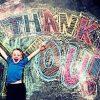 Sidewalk chalk art_Thank you with little boy