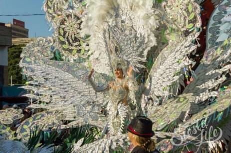 Главное шествие карнавала на Тенерифе в 2016 году — участница конкурса королевы карнавала в белом