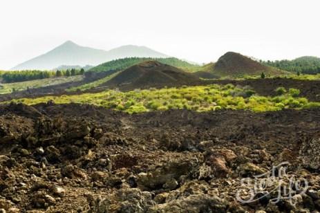 Ландшафт Тенерифе с Тейде в тумане на горизонте