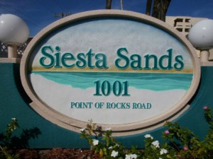 Siesta Sands Beach Resort sign