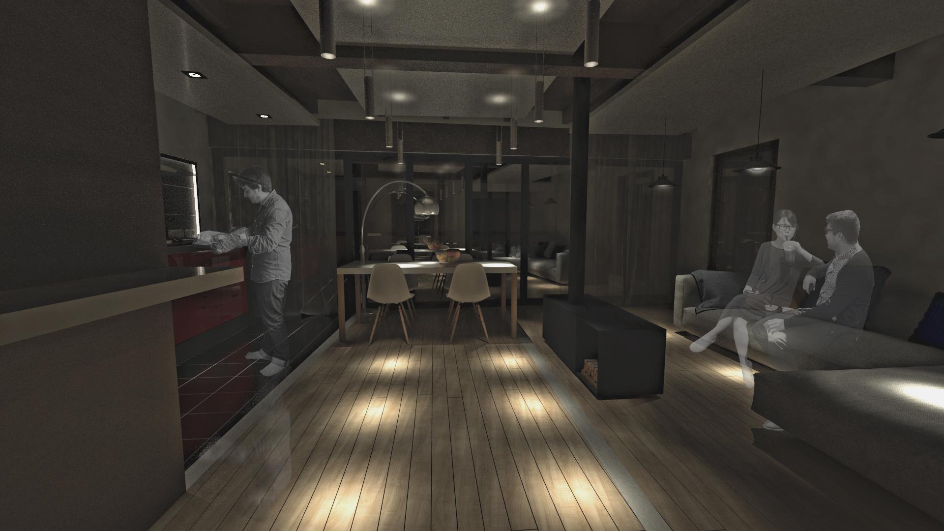 sietequince proyecto vivienda rural diseño p1 salon noche