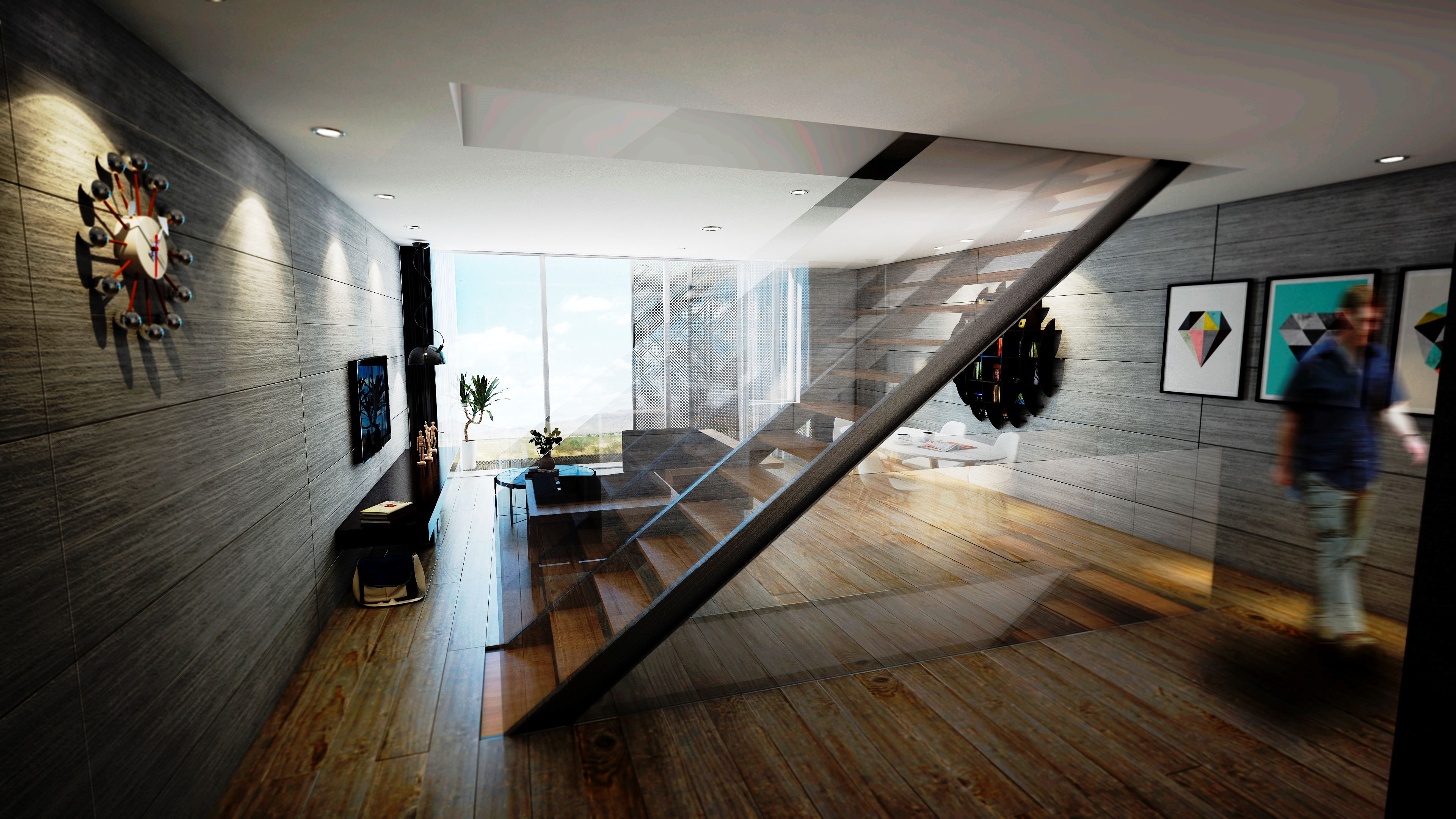 sietequince proyecto viviendas arquitectura passivhaus salón