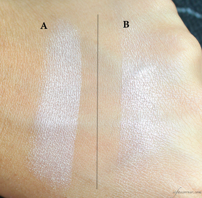 Under sunlight A- swatched with finger B- swatched with brush