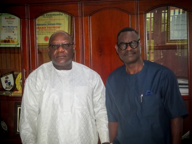 Ambassador Oluwasegun Ibidapo-Obe, Nigerian High Commissioner to The Gambia and Dr. Taiwo Afolabi, Group Executive Vice Chairman, SIFAX Group during a courtesy visit by the SIFAX Group team on the High Commissioner in Banjul, Gambia recently.