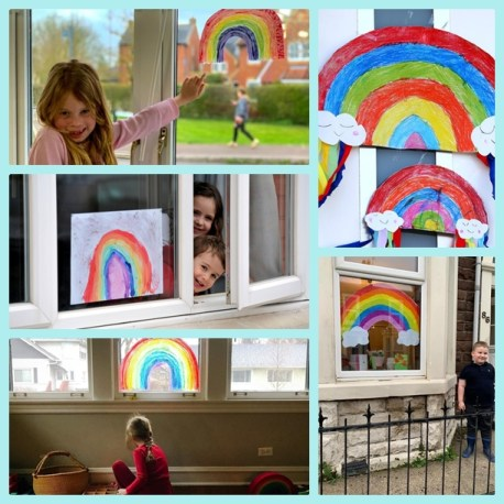 Rainbow drawings all over UK spread rays of hope and unity