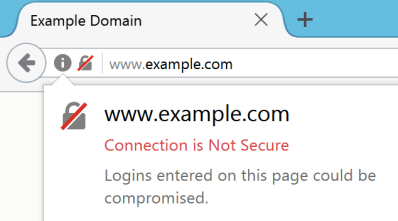 Not Secure website example