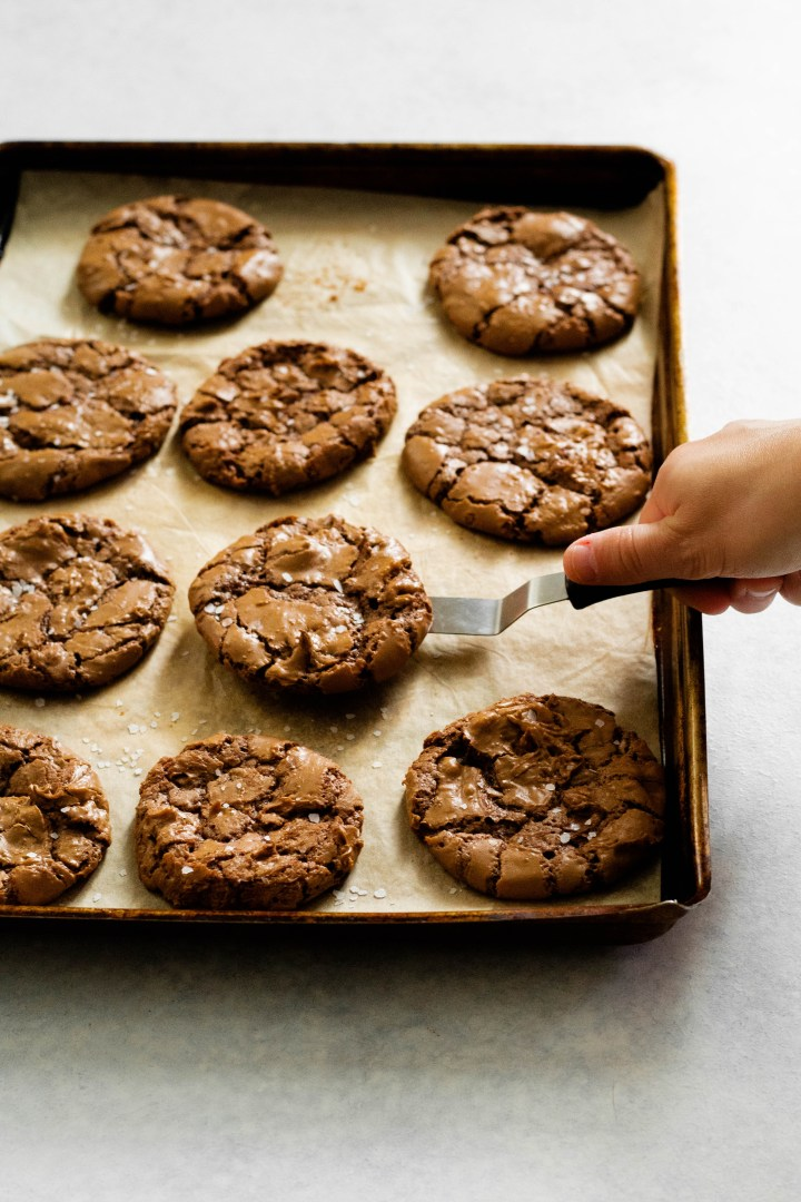 Gluten Free Double Chocolate Chip Cookies on a pan