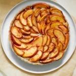 Gluten Free Peach Frangipane Tart on a plate