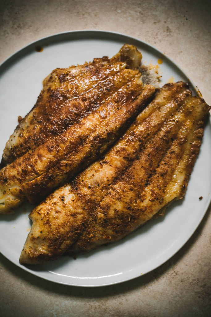 Cajun Catfish Recipe on a plate