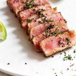 Sliced Ahi Tuna on a plate