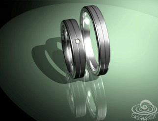 Trauringe rille 3D Entwurf
