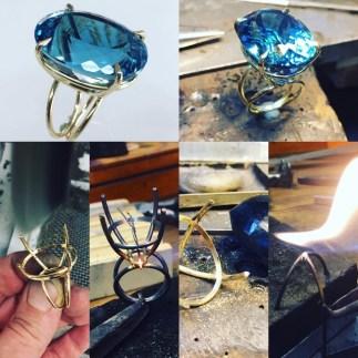 Ring mit 77ct Blautopas aus 18ctgold. Schmuck aus Handarbeit von siggnaturjewellery, düsseldorf madeingermany.