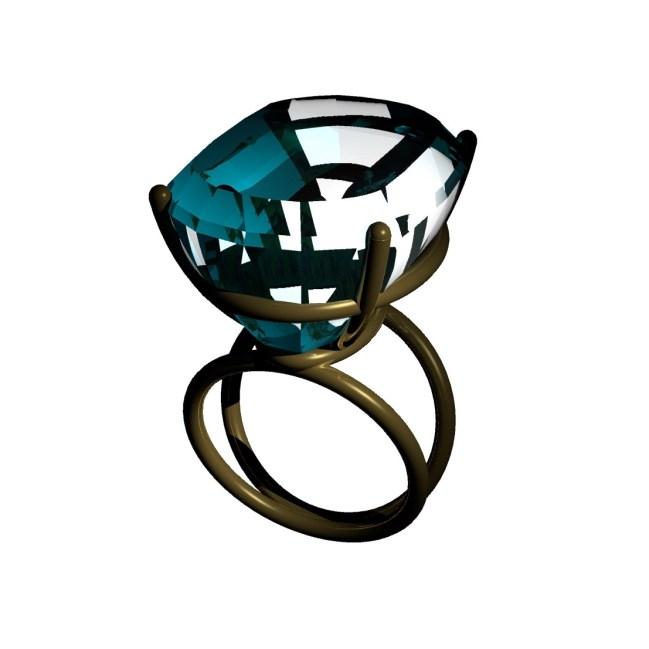 3D Modell von Ring mit Blautopas aus 18ctgold. Schmuck aus Handarbeit von siggnaturjewellery, düsseldorf madeingermany.