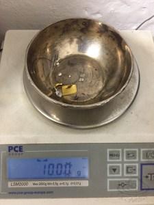 das Rohmaterial für 10gr 750er Weißgold: 7,5gr Feingold, 1,4gr Palladium und 1,1gr Feinsilber