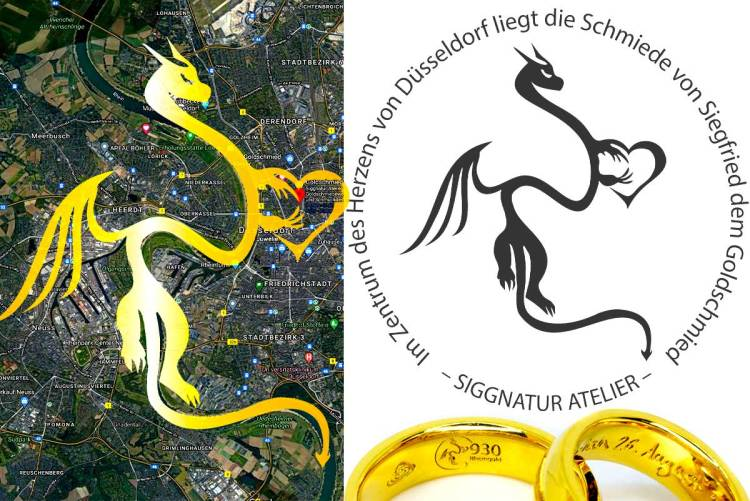 Rheingold Drache Logo Siggnatur Goldschmied Düsseldorf