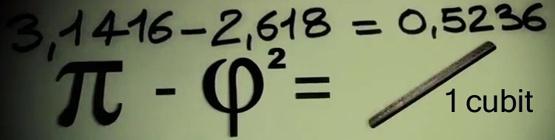 Pi-Phi=Cubit