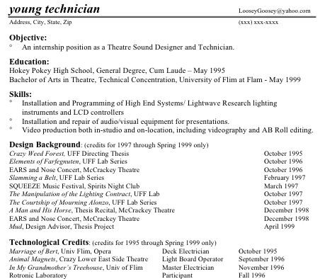 technical theatre resumes part two