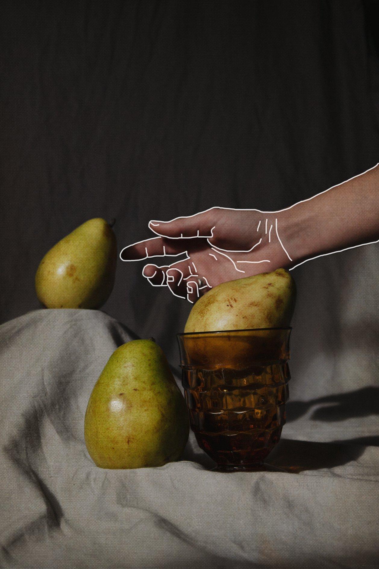 still life pear vintage renaissance line art moody shadows studio