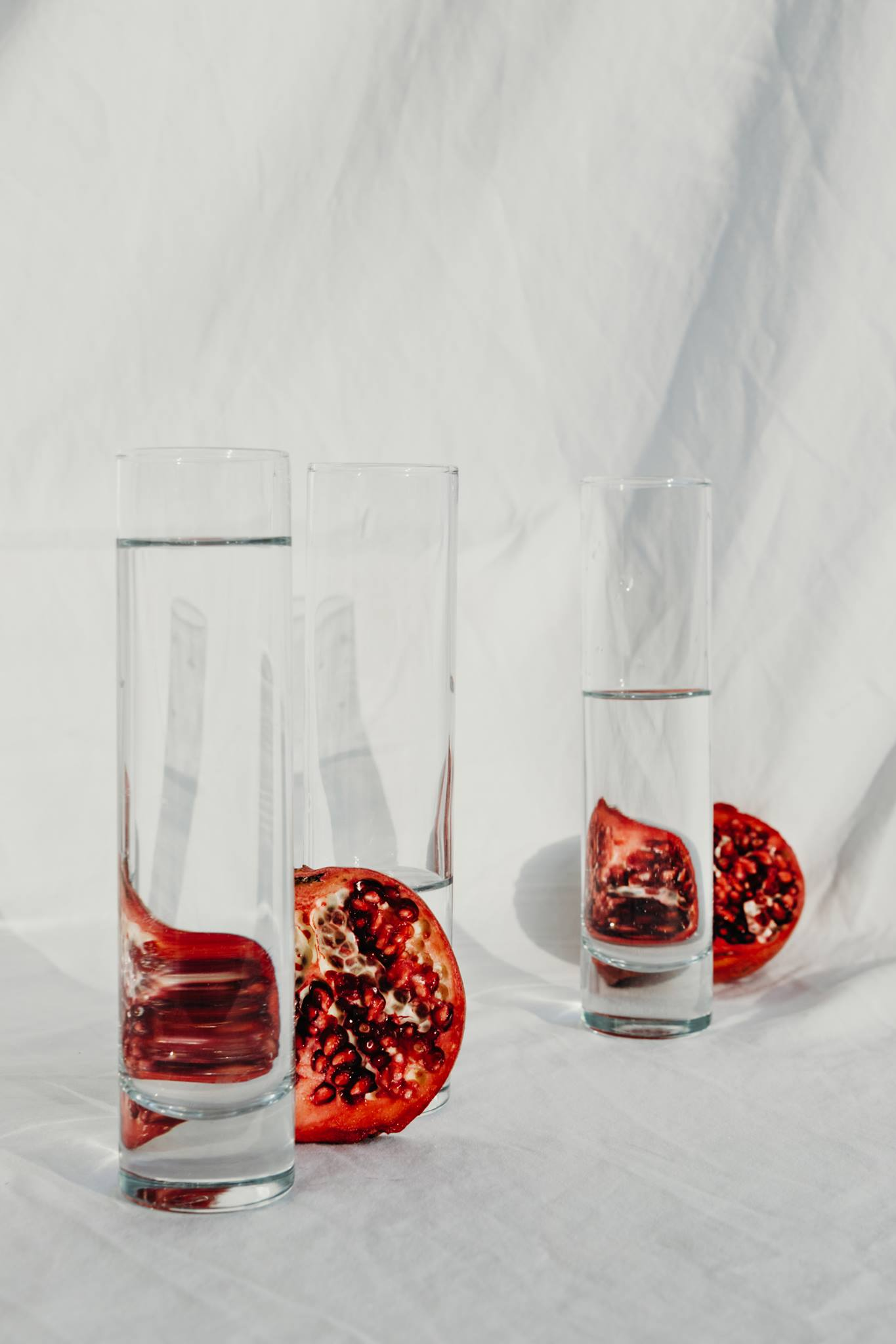 pomegranates water white minimal red