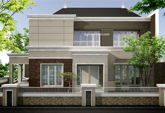 Rumah Pojok 2 Lantai Semi Klasik