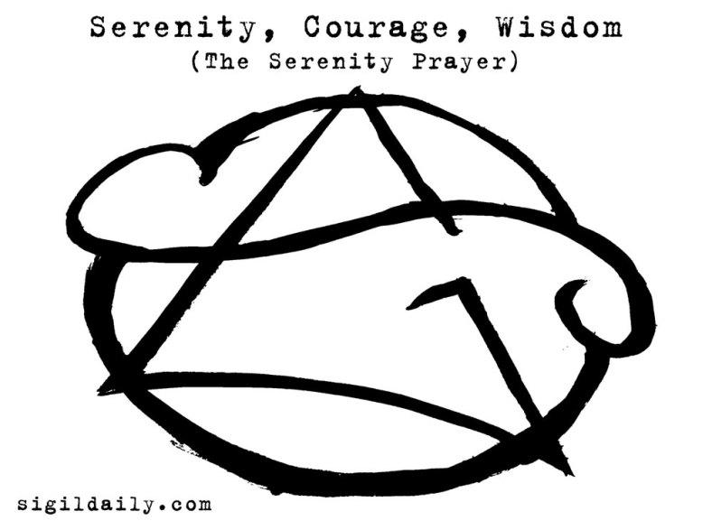 """The Serenity Prayer: Serenity, Courage, Wisdom."" Brush and ink."