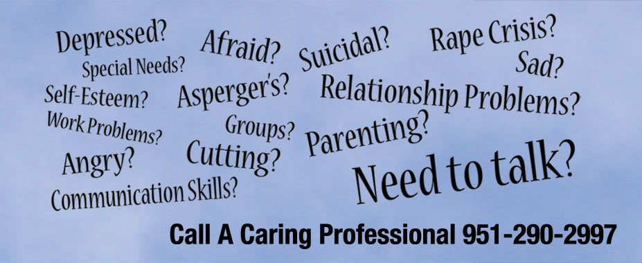 Depressed? Afraid? Suicidal? Rape Crisis? Aspergers? Self-Esteem? Work Problems? Cutting? Angry? Communication Skills? Parenting? Relationship Problems? Sad? Need To Talk?