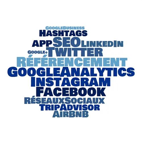 Wordcloud référencement web seo google analytics facebook instagram adwords