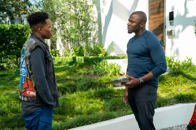 "THE PURGE -- ""Before the Sirens"" Episode 208 -- Pictured: (l-r) Denzel Whitaker as Darren, Derek Luke as Marcus Moore -- (Photo by: Alfonso Bresciani/USA Network)"