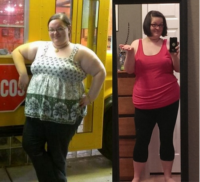 A 28-year-old female. 1,300 calories a day + going to gym 3 times a week. She went from 314 lbs. to 245 lbs. without any weight loss pills in 7 months.