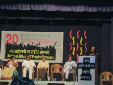 Madhuresh speaks at the inaugural session of the NAPM convention.