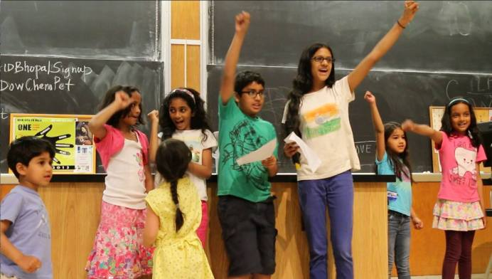 "Children recite the ""Gandhi Rap"" at the end of the AID Conference"