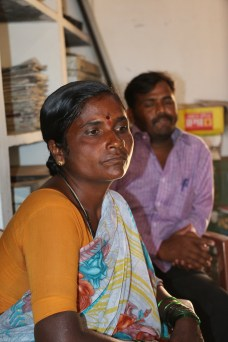 Ms. Nagamma, a devaadasi, woman, office bearer of Vedhike who coordinates and implements activities of Vedhike. Sitting behind her is Mr. Yamanurappa, a son of devadasi, who has obtained a Masters in Education and has been involved in spreading the Vedhike to other parts of Koppal district..