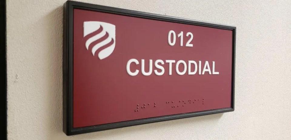 ADA compliant custodial sign