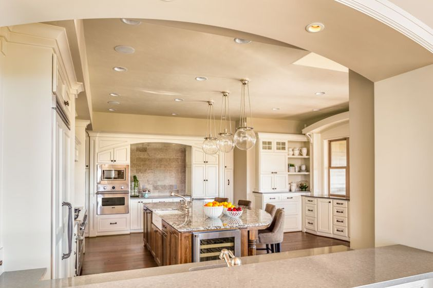 Beautiful Kitchen in Luxury Home. View of Living Room.