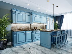 Fashionable kitchen with blue cabinets