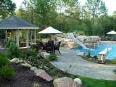 pool slide and landscape