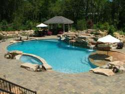 full pool view with paver deck