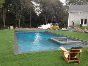 New Pool with attached spa - Pool Builder, Signature Pool and Spas in North Kingstown RI
