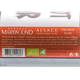 Photo de l'étiquette de la bouteille de Pinot Noir L'Épure du Domaine JunD