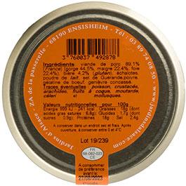 Photo de l'étiquette de la COLMAR BOX APéRO Terrine à la Bière