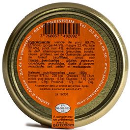 l'étiquette de la Terrine au Pinot Noir par Esprit d'Alsace – 180 g