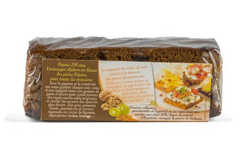 Photo de l'étiquette du pains d'épices des Gourmets Raisins & Noix par La maison Fortwenger
