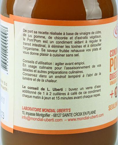 Photo de l'étiquette du Condiment de vinaigre Uberti Pom'Pom Bio
